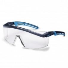 Apsauginiai akiniai Astrospec 2.0 skaidria panoramine linze, supravision excellence (nesibraižantys ir nerasojantys) padengimas, juoda/mėlyna. Mažmeninė pakuotė