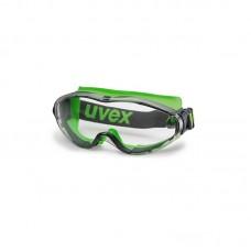 Apsauginiai akiniai Ultrasonic, skaidri panoraminė linzė, supravision extreme (nesibraižantys ir nerasojantys) padengimas, pilka/laimo spalva, guminė juostelė. Individuali mažmeninė pakuotė